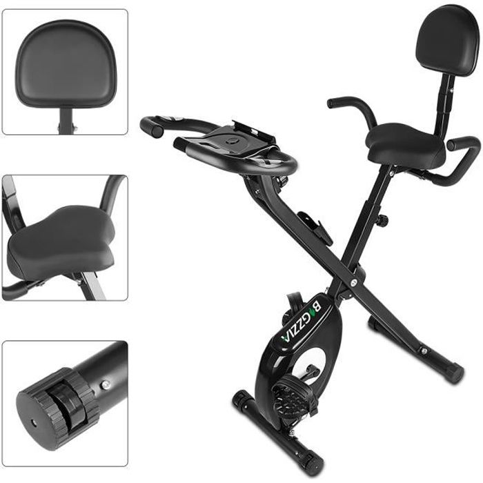 YEEZEE Vélo d'Appartement Pliable,écran LCD suspensions support tablette,avec 8 niveaux de résistance,Noir