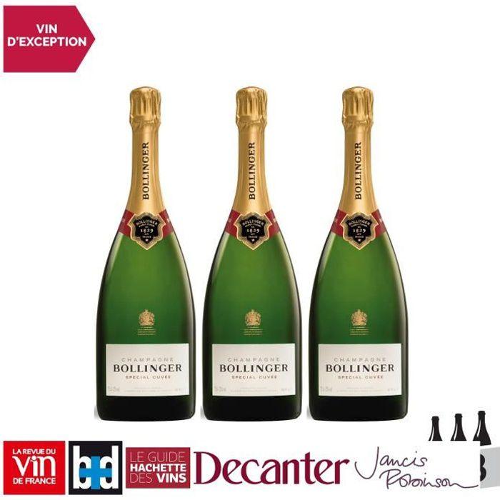 Champagne Special Cuvée Blanc - Lot de 3x75cl - Bollinger - 16-20 La Revue du Vin de France - Cépages Pinot Noir, Chardonnay, Pinot