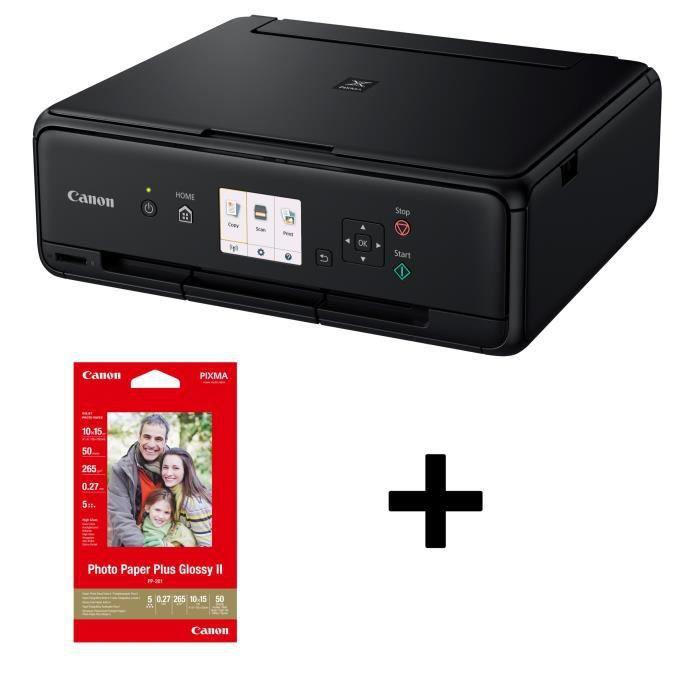 Canon Imprimante Multifonction Pixma Ts5055 Jet d'encre Couleur Wi Fi A4 Noir + 50 feuilles Papier Photo 10 X 15 offer