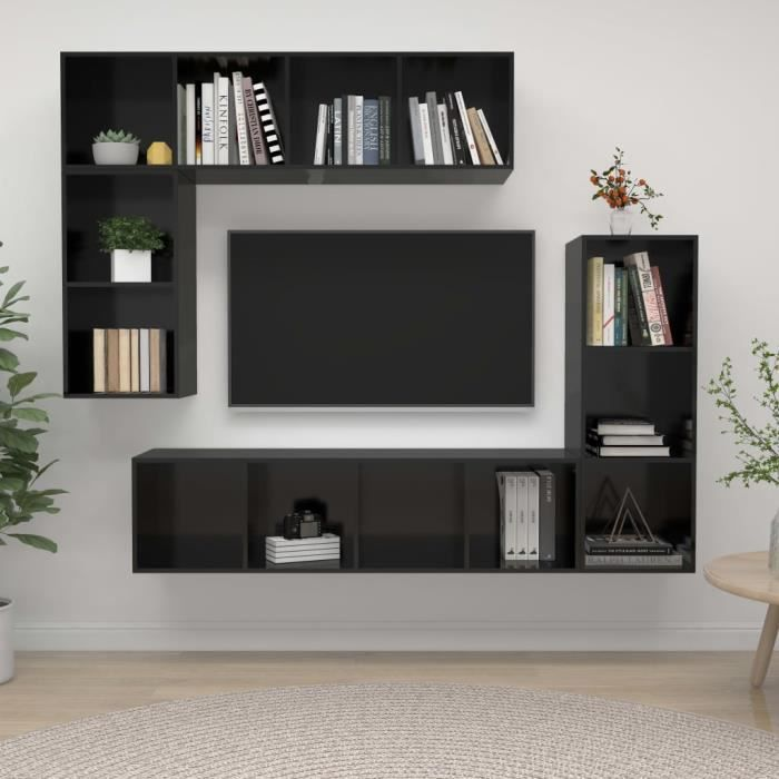 WONG Ensemble de meuble TV 4 pcs Noir brillant Aggloméré