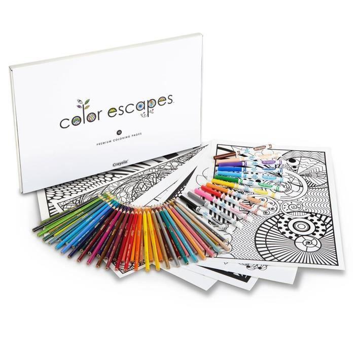 CRAYOLA Couleur Escapes pages à colorier et crayon Kit, édition géométrique XHU9D
