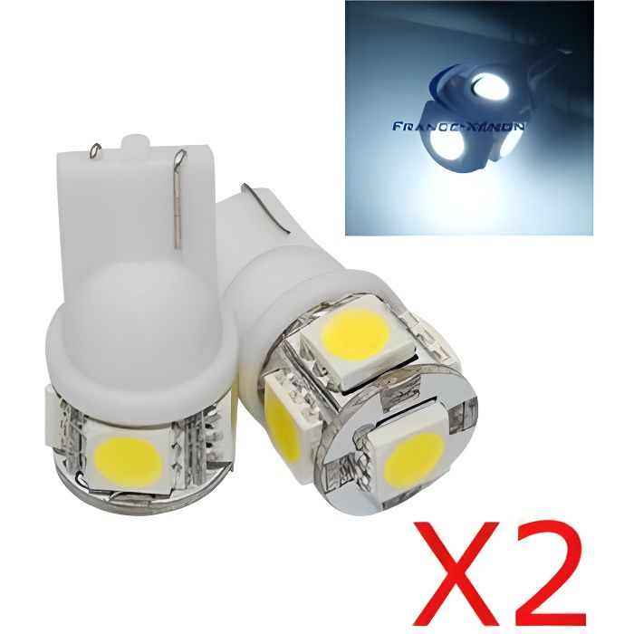 2 x AMPOULES 5 LEDS BLANCHES - LED SMD - 5 led- T10 W5W