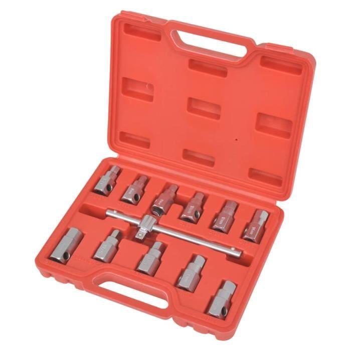 CEN Kit de clés de carter de vidange d'huile 3/8' chrome vanadium pure avec une finition satinée 8 mm 9 mm 10 mm 12 mm 14 mm 17 mm