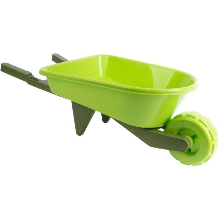Brouette enfant en plastique vert bi-ton - 65,8 x 28,4 x 19,5 cm