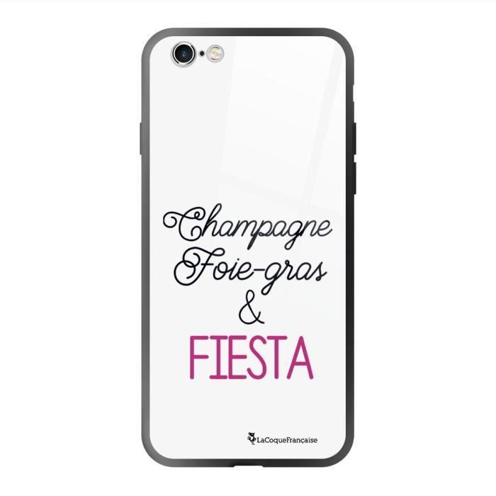 Coque en verre trempé iPhone 6 Plus /6S Plus noir Champagne Foie gras et Fiesta Ecriture Tendance et Design La Coque Francaise