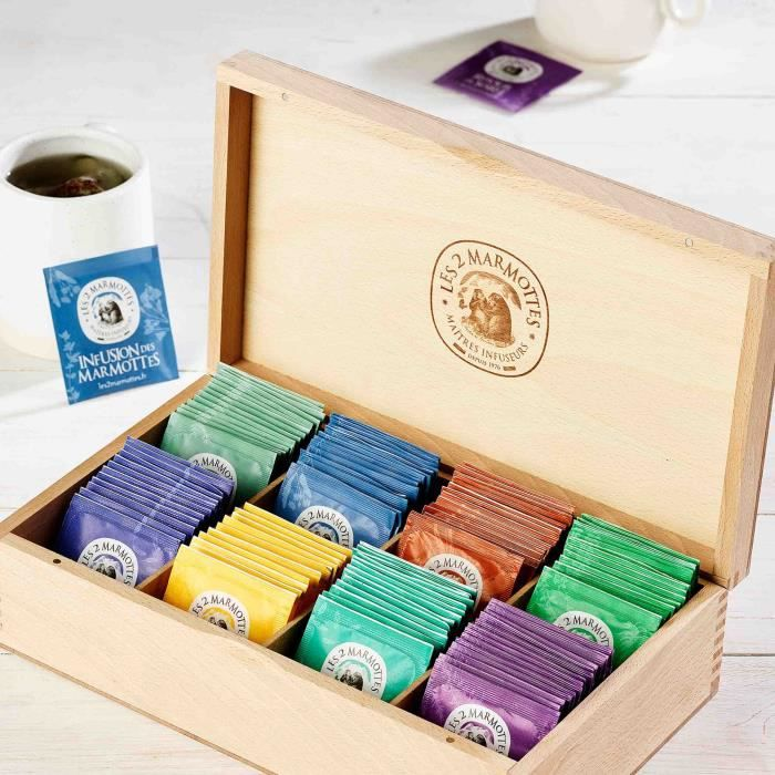 Les 2 Marmottes - Coffret -Sélection en Bois du Jura- - dégustation Infusions 120 Sachets - Made In France - Sans arômes ajoutés