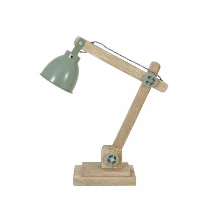 Lampe ELMER Electrique de Bureau à Poser Luminaire de Table Vintage Jour en Bois et Métal 15x45x50cm Vert
