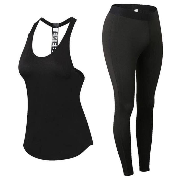 Ensemble Débardeur et Collant Legging Fitness Femme Vêtements de Sport Stretch-fit Couleur Unie