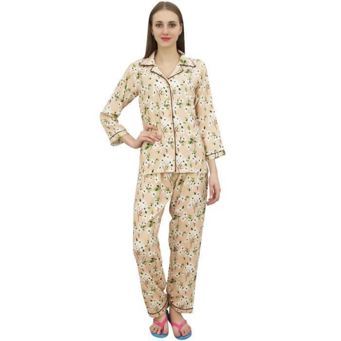 Bimba Peach Shirt Avec Taille Élastique Pyjama 2 Pièces Pantalon Printen Nuit Set Wear