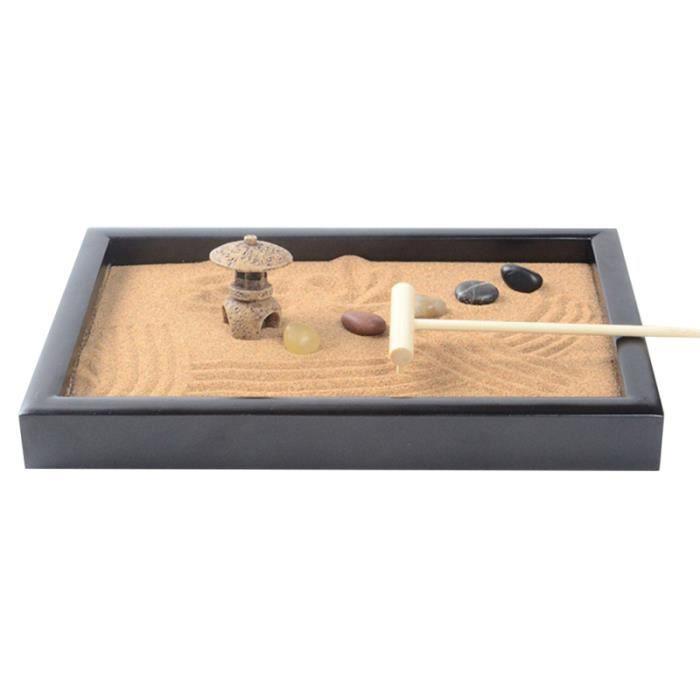 Sentiment de paix Méditation Zen Jardin Bureau Mini avec Râteaux Bac à sable décoratif pour bureau à domicile FONTAINE DE JARDIN