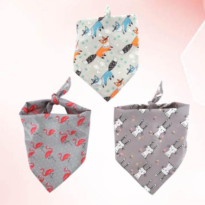 3 pièces doux confortable dessin animé imprimé chien bandage triangulaire écharpe foulard salive COFFRET BIBERONS