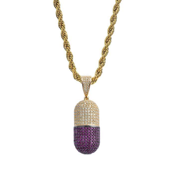 1 pièces détachable créatif drôle personnalisé Zircon collier pendentif Capsule strass pour homme CHAINE DE COU VENDUE SEULE