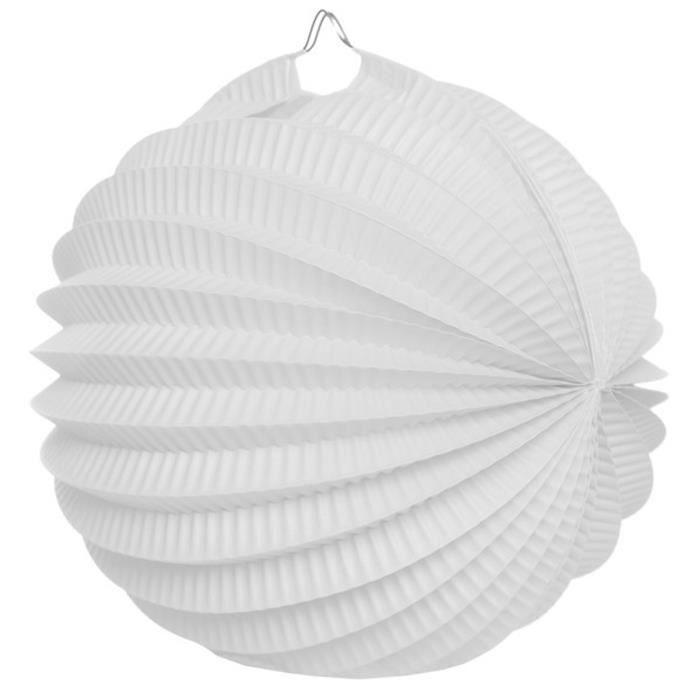 Lot de 6 Boules en Papier Déco Accordéon coloris Blanc - 32 cm
