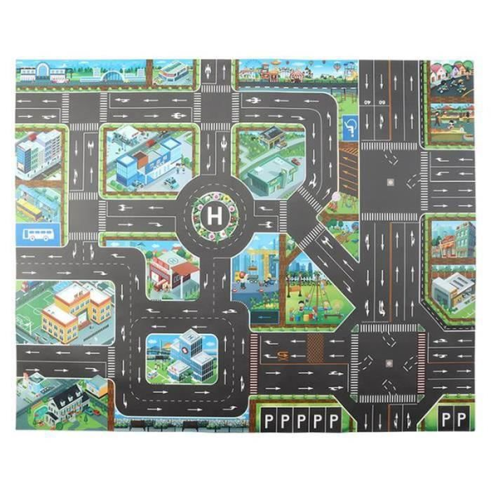 AWY10246-Tapis de jeu de scène de trafic pour enfants Tapis de circulation de dessin animé Tapis de jeu de jouet d'intérieur-130 *