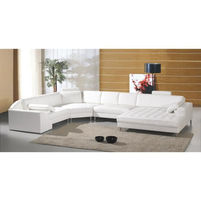 grand canap d 39 angle panoramique en cuir blanc king achat vente canap sofa divan. Black Bedroom Furniture Sets. Home Design Ideas