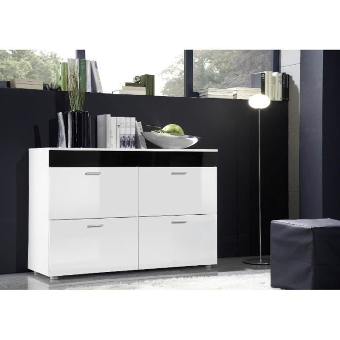 commode design logo blanc laqu avec une bande noire. Black Bedroom Furniture Sets. Home Design Ideas