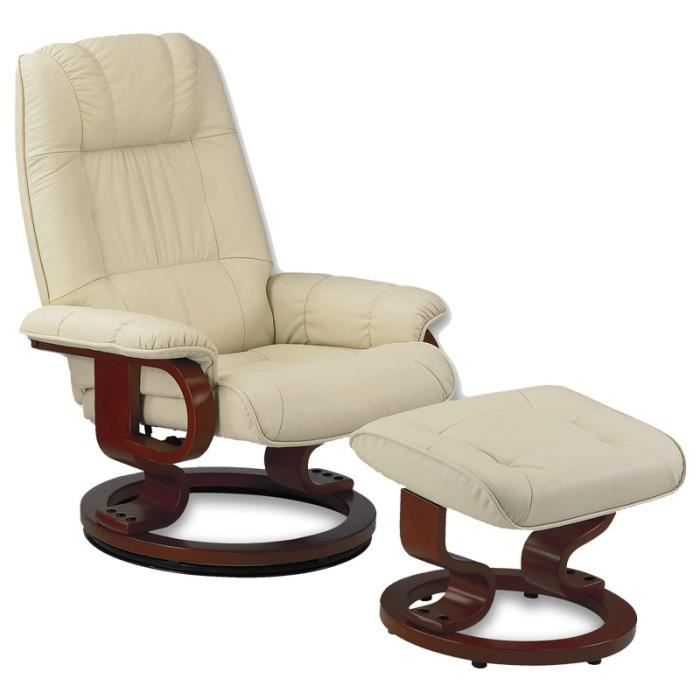 Fauteuil de relaxation cuir beige excelly achat vente fauteuil beige - Fauteuil en cuir beige ...