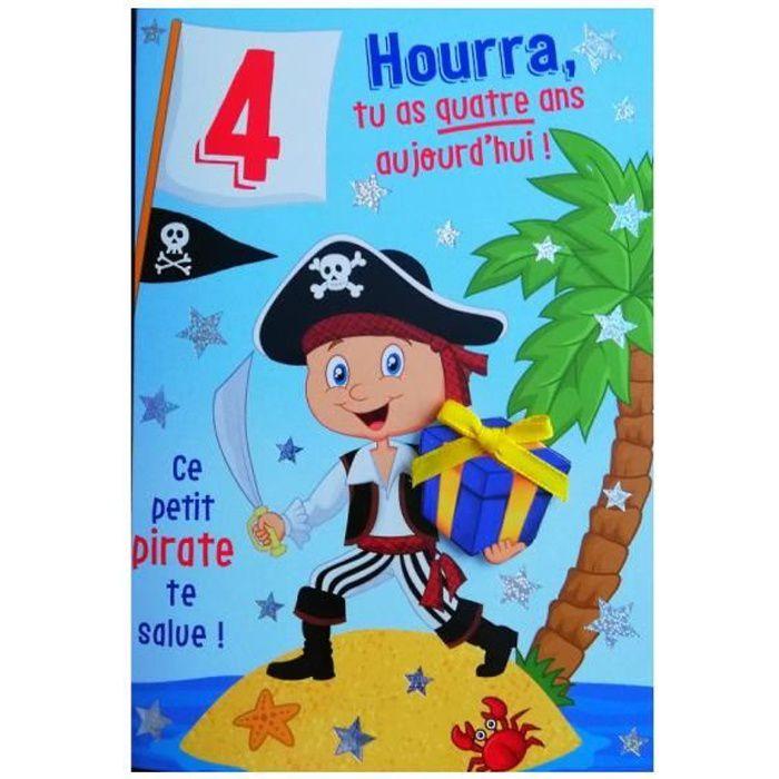Carte De Voeux Enfant Anniversaire 4 Ans Garcon Achat Vente Carte Correspondance Carte De Voeux Anniversaire Cdiscount
