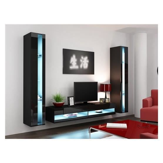 ensemble meuble tv mural olermo noir achat vente. Black Bedroom Furniture Sets. Home Design Ideas