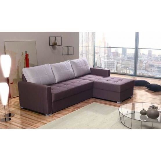 Canap d 39 angle convertible design pietro violet achat vente canap - Canape violet convertible ...