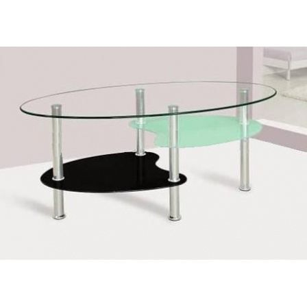 table basse ovale transparente noire et blanche achat vente table basse table basse ovale. Black Bedroom Furniture Sets. Home Design Ideas