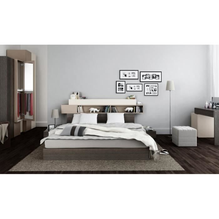 lit avec tete de lit rangements hifi avec sommier relevable 180x200 avec 2 chevets et eclairage. Black Bedroom Furniture Sets. Home Design Ideas