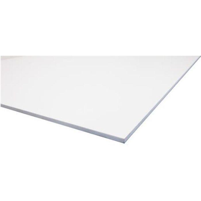 CARRELAGE - PAREMENT Plaque PVC expansé blanc - L: 100 cm - l: 50 cm -