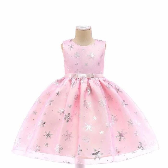vente Bébé Rose Silver Sparkle Bow Princess Style Fleur Fille Robe de soirée 3//9Y