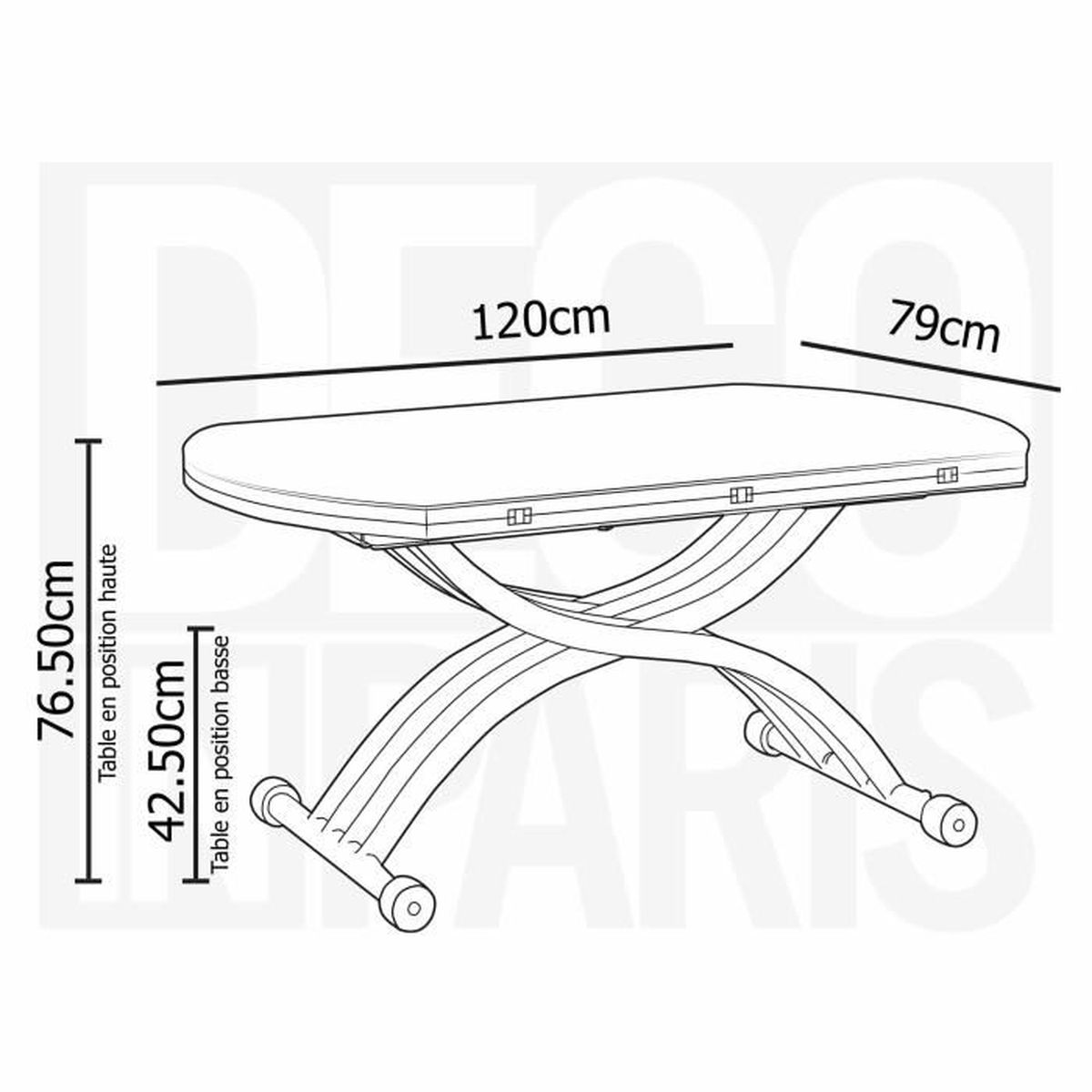 Table basse ronde relevable extensible laqué blanc