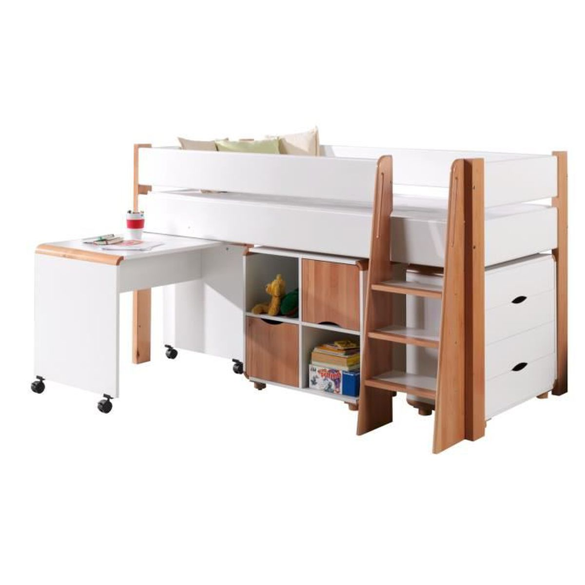 lit mi hauteur combin 90x20 cm en bois h tre massif mdf coloris blanc blanc achat vente. Black Bedroom Furniture Sets. Home Design Ideas