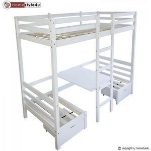LIT MEZZANINE Lit enfant mezzanine superposé blanc 90x200 pin ma