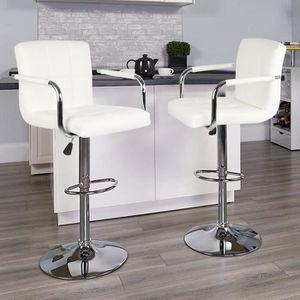 TABOURET DE BAR Lot de 2 Tabourets de Bar (Blanc) Chaise de Bar Ch