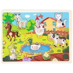 PUZZLE Puzzle En BoisLes Animals D À La Ferme Coloré Ave