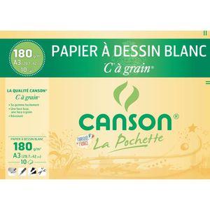 PAPIER A DESSIN CANSON Pochette papier C à grain - 29,7 x 42 cm -
