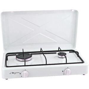 RÉCHAUD Platine de cuisson gaz 2 feux 900W et 2200W Blanc