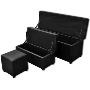 BANC Set de banc de rangement en simili cuir Noir Banc