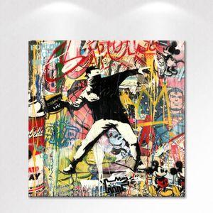 TABLEAU - TOILE Tableau déco - Toile imprimée Banksy Urban Graffit
