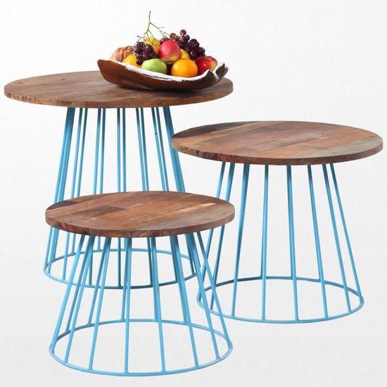 Petite table basse en bois exotique et ses pieds en fer bleu
