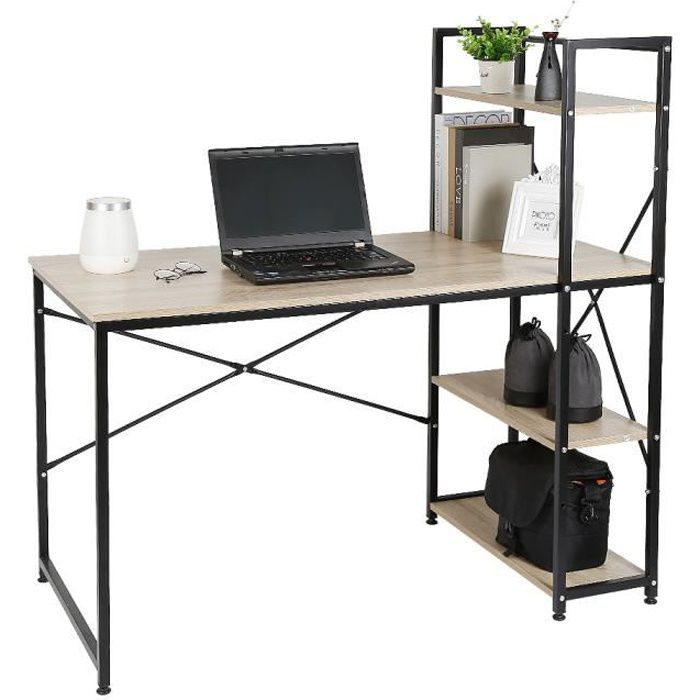 KELUODAE° Chêne Bureau Design Industriel - Table de Bureau Avec Bibliothèque - 120 x 64 x 121 cm