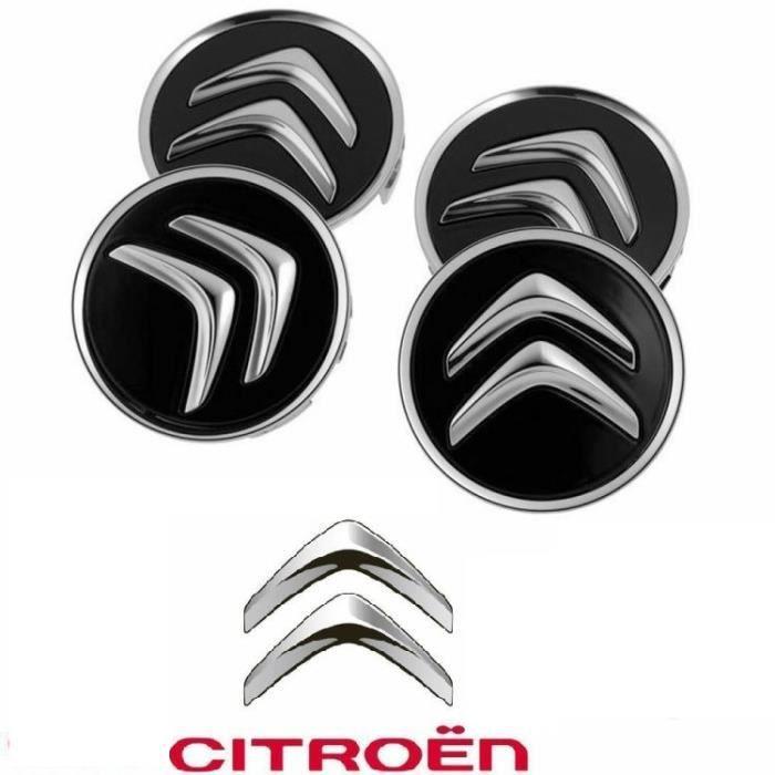 4 pièces noir 60MM Centre de roue avec emblème, couvercle de jante avec emblème, pour citroën C1 C2 C3 C4 C5 C6 C8 C4L DS3 DS5