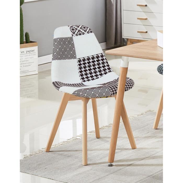 Fabia Dining Chair Chaises en patchwork noir et blanc Contemporary Retro Chairs Modern Retro Contemporary Scandinavian Dining Chairs