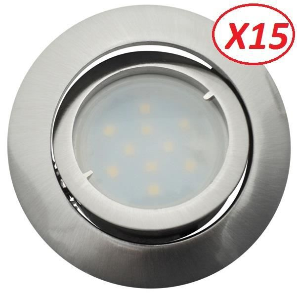 Lot de 15 Spot Led Encastrable Complete Satin Orientable lumière Blanc Neutre eq. 50W ref.895