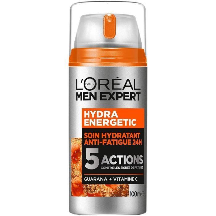 L'Oréal Men Expert - Hydra Energetic - Soin Hydratant 24H Anti-Fatigue pour Homme - 5 Actions - 100 ml