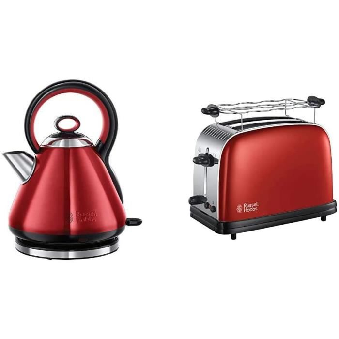 Russell Hobbs Legacy Bouilloire, Réf 21885-70, 1, 7L Capacité, 2400W - Rouge & Russell Hobbs Toaster, Grille Pain Extra Large, Cuiss