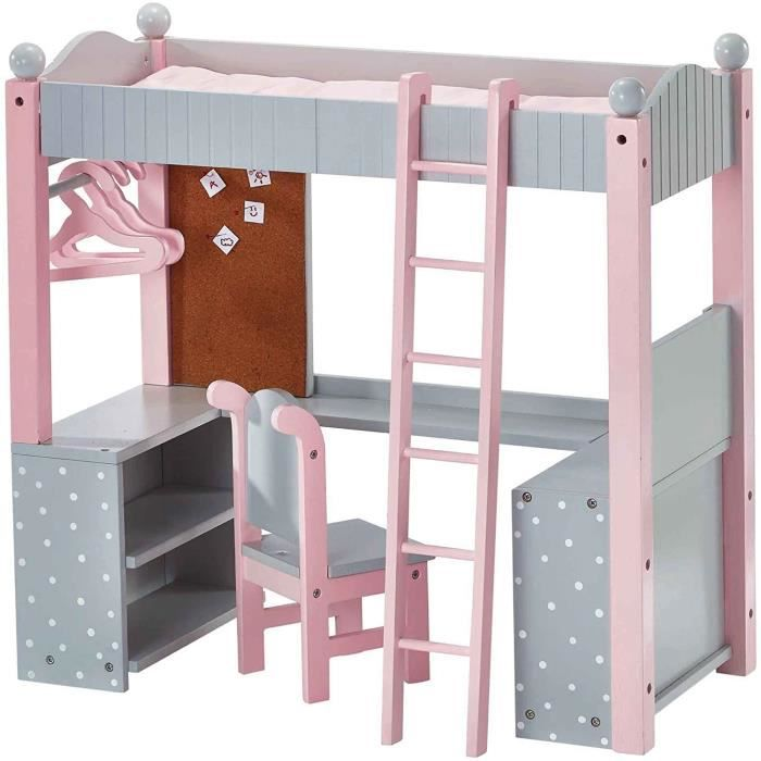Lit superposé Mezzanine avec Bureau et étagères de Rangement pour poupée Poupon Jouet Olivias Little World TD-0204AG A67