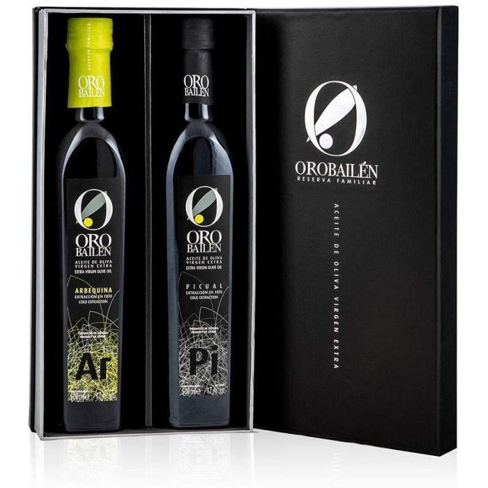 Huile d'olive vierge extra - Oro bailen Reserva Familiar - Coffret cadeau gourmet huile d'olive vierge extra de Jaen Arbequina + var