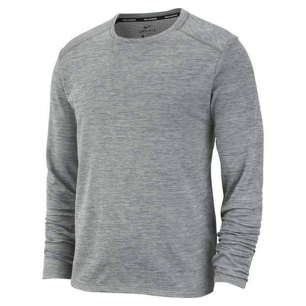 NIKE T-Shirt de running manches longues M NK PACER TOP HZ HOMME Gris chiné