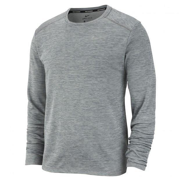 NIKE T-Shirt de running manches longues M NK PACER TOP HZ HOMME Gris chiné