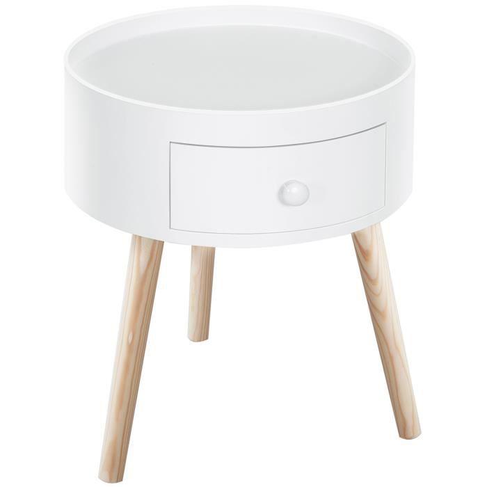 Chevet table de nuit ronde design scandinave tiroir bicolore pieds effilés inclinés bois massif chêne clair blanc 63 38x38x45cm