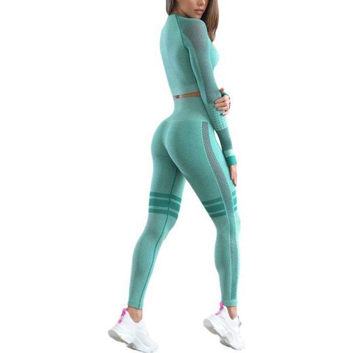 Ensemble de Sport Femme 2 Pièces Vêtements de Fitness Vert clair M